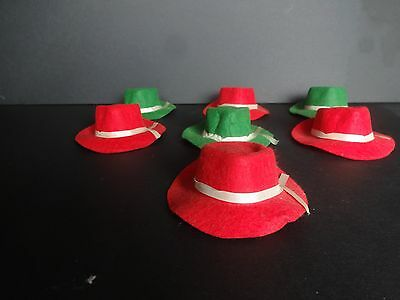 (7)  1940's 1950's  Miniature Fedora Hats. Small Salesmen's Sample. Doll Hats.