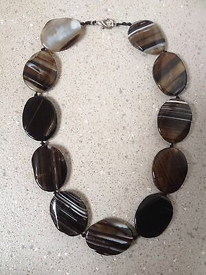Stunning Black/white Banded Agate Necklace.