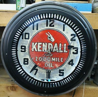 Kendall Motor Oil Neon Spinner Clock Original And Working Excellent Condition!!!