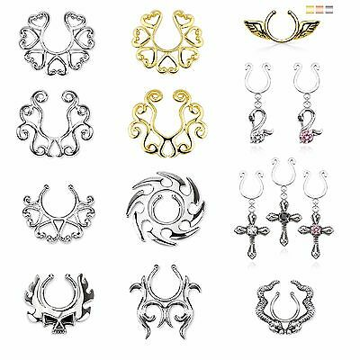 Fake Piercing Clip-On Nipple Shield - Heart Scroll Tribal Wing Swan Cross Snake
