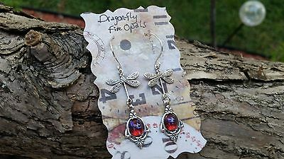Dragonfly Earrings with Dragon's Breath Opals Christmas Gift Sale Affordable Lux