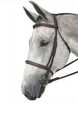 HDR Pro Fancy Padded Bridle Monocrown with Reins Havana Cob