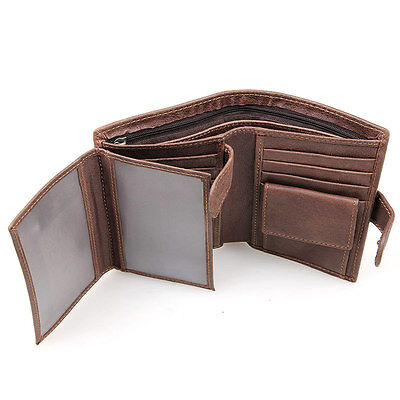 RFID Mens Cowhide Leather Bifold Credit/ID Card Coin Purse Money Clip Zip Wallet