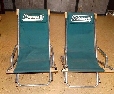 17158 PAIR of VINTAGE 1950s 60s  COLEMAN LANTERN CAMPING CHAIRS ~ Aluminum Frame
