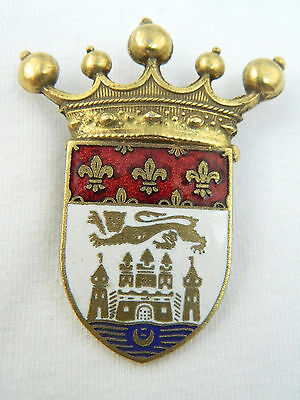 CORO VTG Designer Signed Coat of Arms Knight Goldtone Victorian Lion Pin Brooch