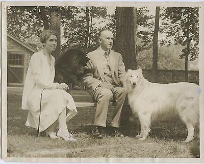 1938 Mr. and Mrs. Calvin Coolidge with their dogs at the Beeches in Northhampton