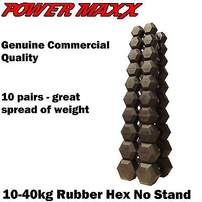 POWER MAXX 10-40kg Rubber Hex Dumbbell Set - No Stand Free Weights Home Gym