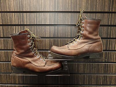 Vintage WOLVERINE BOOTS Leather Used Work Shoes Size 9 C Moccasin Toe Hipster