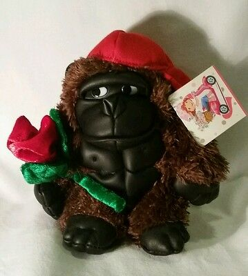 Plush Dan Dee Collector's Choice Valentine Gorilla/Ape w/red Cap, Holding Rose