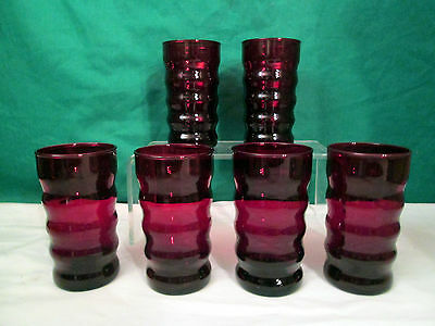 Vintage Anchor Hocking Ruby Red 8 Ounce Ribbed Glasses – Set of 6 - Pristine