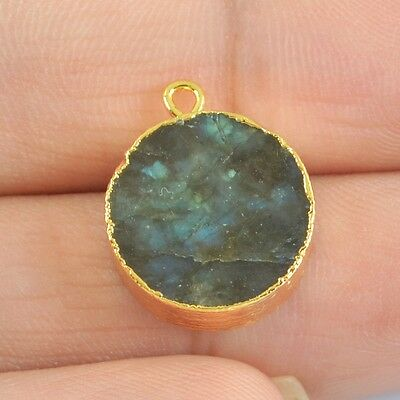 15mm Round Natural Labradorite Charm One Bail Gold Plated H83624