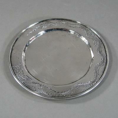 Antique Chinese Silver Dish Tray, Rim Engraved with Dragon Chasing Pearl, 88 gms