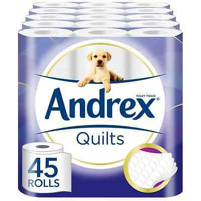 Andrex Quilts Toilet Roll Tissue Paper  45 Rolls White Ply Quilted Soft Bathroom