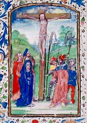 Illuminated Medieval Book of Hours Vel.Manuscript,Miniature,Crucifiction,c.1475