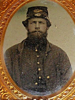 RARE 1860's Photo of Soldier with Marked Kepi in Patriotic Gutta Percha Case