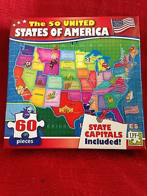 60 PIECE PUZZLE THE 50 UNITED STATES OF AMERICA WITH STATE CAPITOLS INCLUDED New