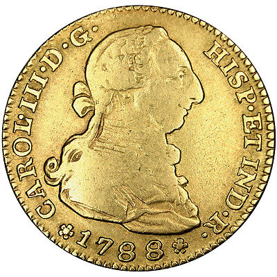 [#25583] SPAIN, 2 Escudos, 1788, Madrid, KM #417.1a, VF(30-35), Gold, 6.66