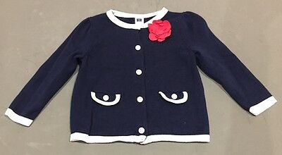 Janie and Jack Navy Cardigan sweater LS Size 12-18 Months 5 button front NWOT