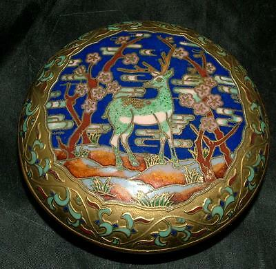 Antique Cloisonne Chinese Enamel On Brass Deer Stag Cherry Blossom Trinket Box