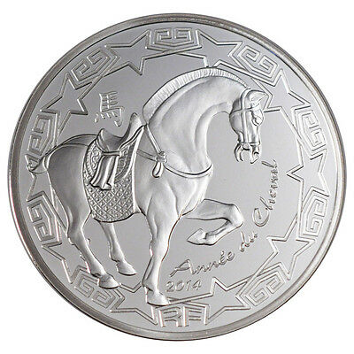 [#26202] France, 10 Euro, 2014 horse year, MS(65-70), Silver, 22.20