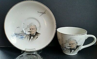 VINTAGE LORD NELSON ENGLAND WWII WINSTON CHURCHILL CUP & SAUCER ship and plane