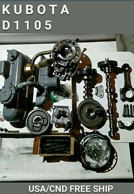 Kubota D1105 3 Cylinder Diesel Engine Head Bolts, gears, cams, Valve Cover, etc