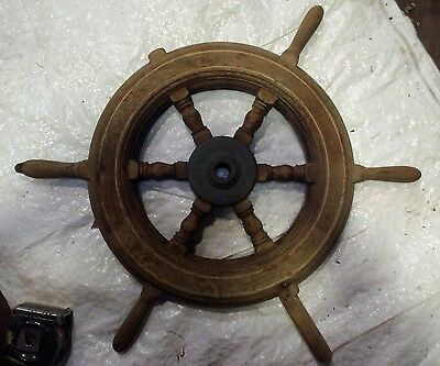 "Antique Brass And Wood Boat Steering Wheel Ships Wheel 24"" Old Parts Or Restore"