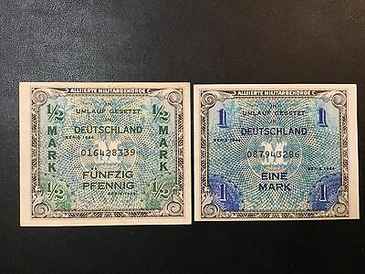 1944 Germany Paper Money - Military Payment Banknotes !