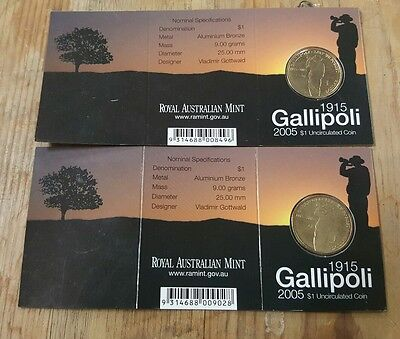 2 ×  2005 $1 coins. Gallipoli. from the Royal Australian Mint