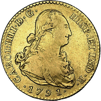[#25552] SPAIN, 2 Escudos, 1791, Seville, KM #435.2, VF(30-35), Gold, 6.64