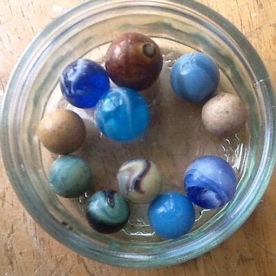 ANTIQUE MARBLES , 11 Beautiful OLD TOY