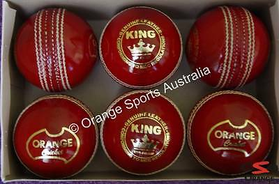 6 X KING (Wool Centred) RED Hand Sewn BAT FRIENDLY Leather Cricket Balls (4 Pc)