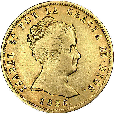 [#25571] SPAIN, 80 Reales, 1836, Madrid, KM #577.2, EF(40-45), Gold, 6.72