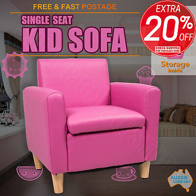 Kid Sofa Children Kids Lounge Arm Chair Padded Leather With Storage - Pink/Black