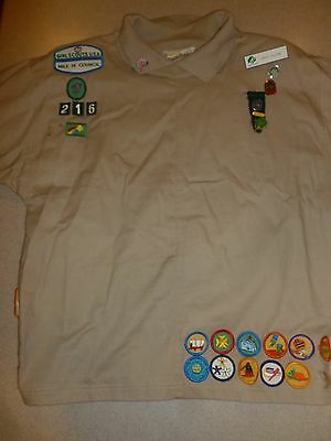 Girl Scout Troop Leader Jacket Patches Cotton Womens sz M Medium