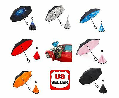 Reverse Folding Inverted Umbrella C-Handle Inside Out Upside Down Double Layers