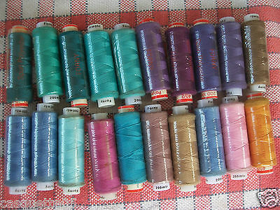 20 BOBINES 200m FIL A COUDRE FORNY 100%.POLYESTER .COUTURE MAIN .MACHINE.COUDRE.