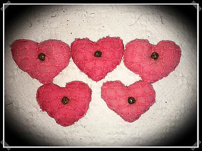 """Set Of Five Handmade Vintage Chenille Primitive Hearts With Rusty Bells 4"""" X 4"""""""