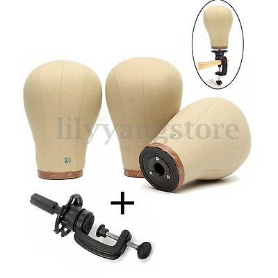 """Canvas Block Head For Wig Making Manikin Mannequin Model With Clamp 22""""-23"""""""