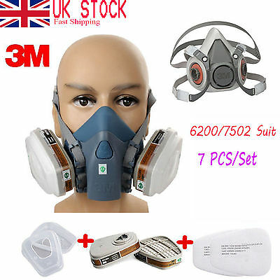 7 in 1 Set Respirator Painting Spraying Half Face Gas Mask For 3M 7502 6200 AB33