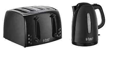 Russell Hobbs Textures Kettle And 4 Slice Toaster Set In Black