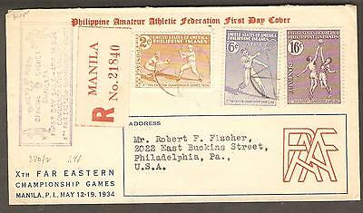 Philippines 14 April 1934 Registered FDC Cachet Cover, Manila to Philadelphia