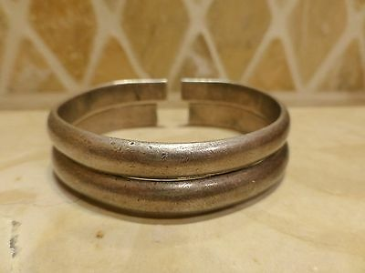 Antique Chinese pair pure full silver bangle bracelet cuff signed branches 79.8g