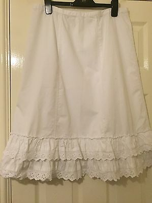 Size 14 White Cotton Skirt With Broidrie Anglaise Trim