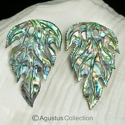 Multicolor PAUA ABALONE SHELL Iridescent Floral Design Earring PAIR 2.40 g