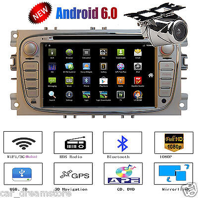 "7"" 2 Din Car Stereo DVD GPS Navi Radio Player Android 6.0 For Ford Focus+Camera"