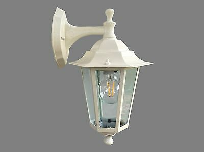 Pair Of LED Traditional Wall Mounted Coach Light Lamp Cream. With Free LED Globe