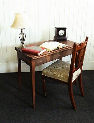 Antique turn over top fold out Victorian console tea table / desk / card table