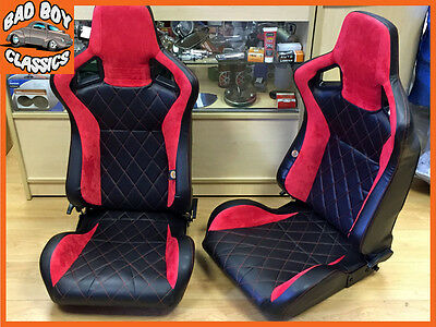 Pair BB6 Reclining Bucket Seats Red Diamond Stitch + Adaptor Plates DEFENDER