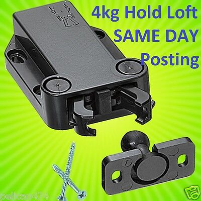 Push to Open Touch Release Catch Latch for Cabinet Cupboard Doors 4kg Load Black
